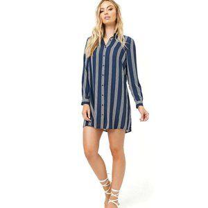 Striped Chiffon Shirt Dress Navy Blue White Small